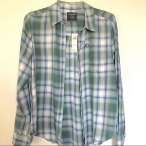 Abercrombie and Fitch blue green plaid shirt